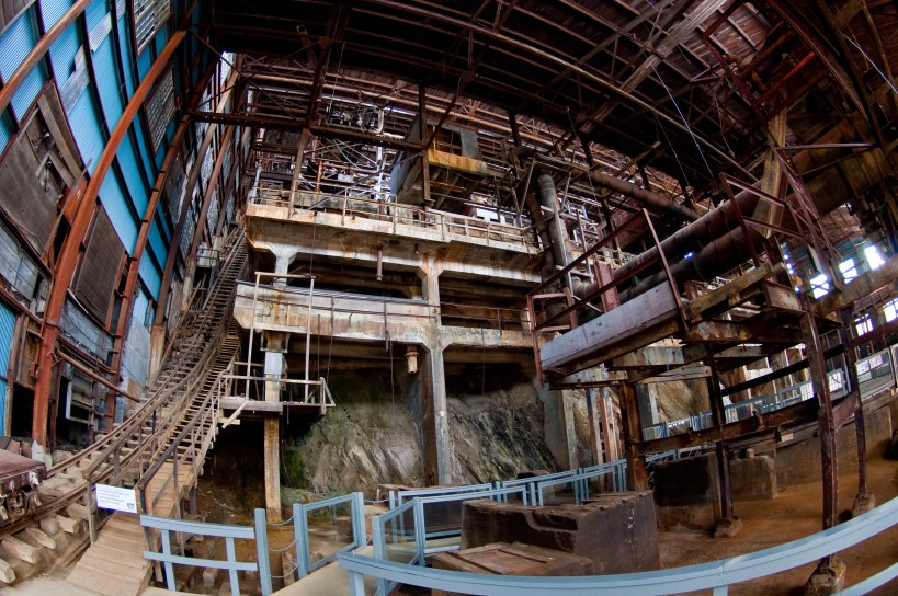 Inside the ore separation facility at the old Britannia Mine