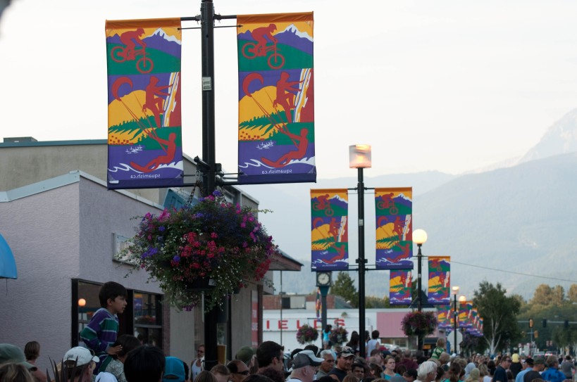 The banners in Squamish feature mountain biking