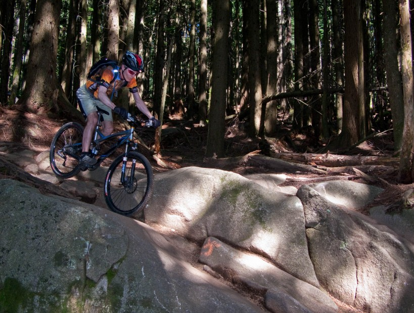 Uncle Knobular rolling some granite on CBC trail at Mt. Seymour