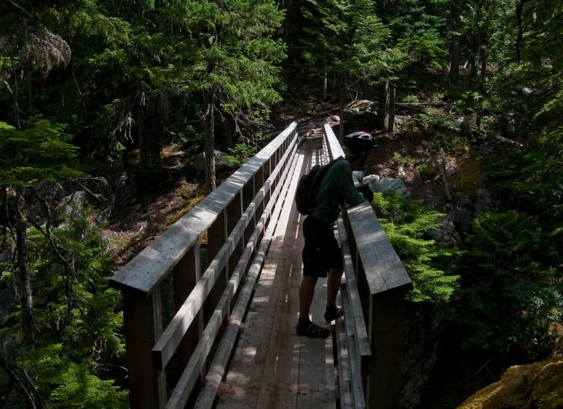 The Al Grey Bridge crosses a gorge far away from the trailhead