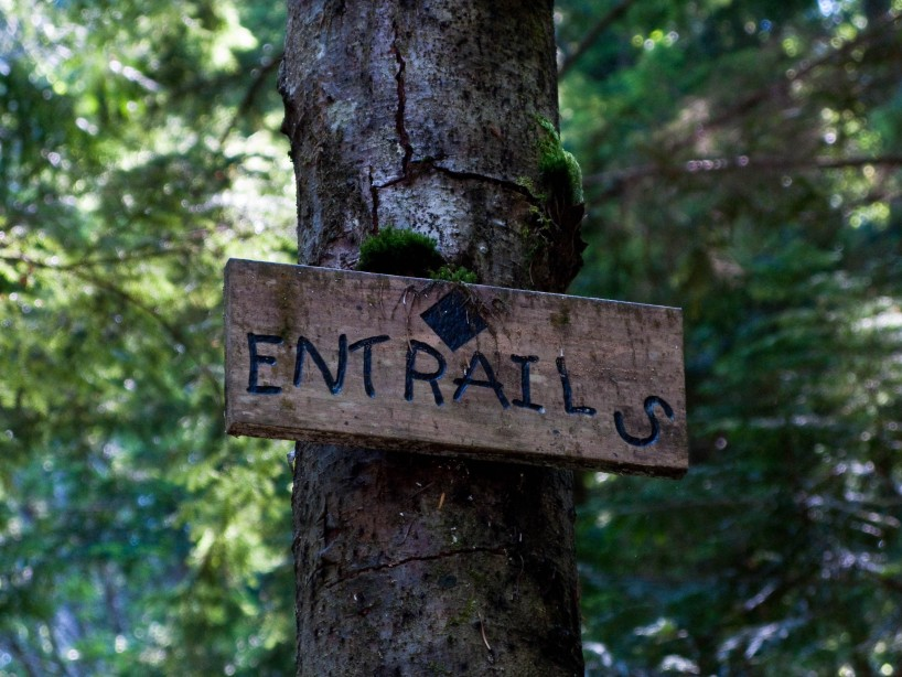 A trail sign for Entrails