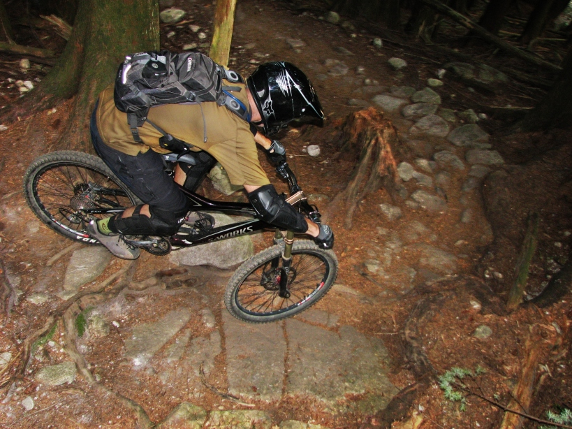 A turn drop on Seventh Secret, Mt. Fromme (photo by Knobs)