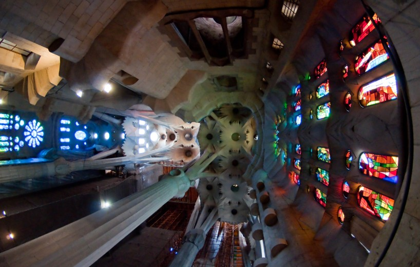 Inside the nave of Sagrada Familia
