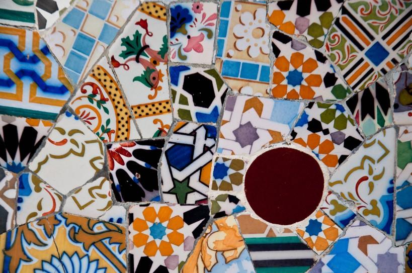 Trencadís-style mosaics at Park Guell