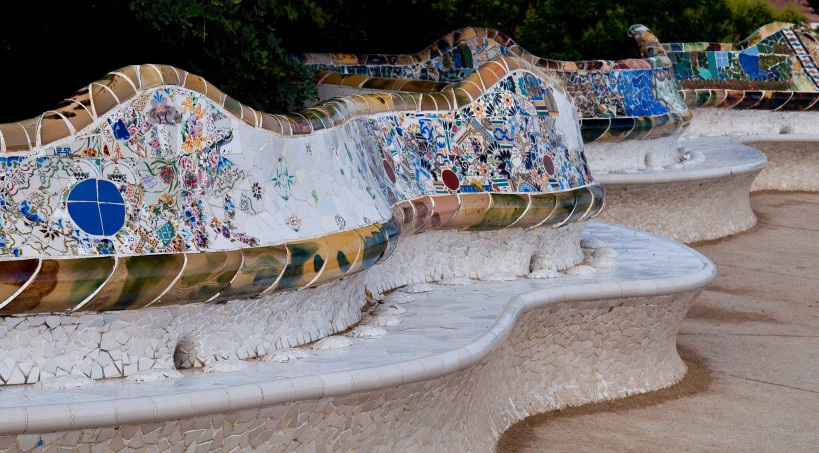 Park Guell's benches with trencadís-style mosaics