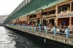 Restaurants below street level on the Galata Bridge