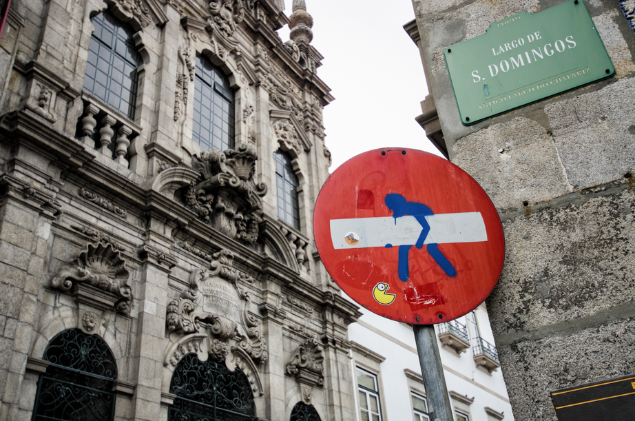 Heavy load:  Street art in Porto