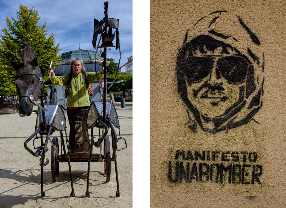Street art in Lugo:  Riding a chariot and the Unabomber