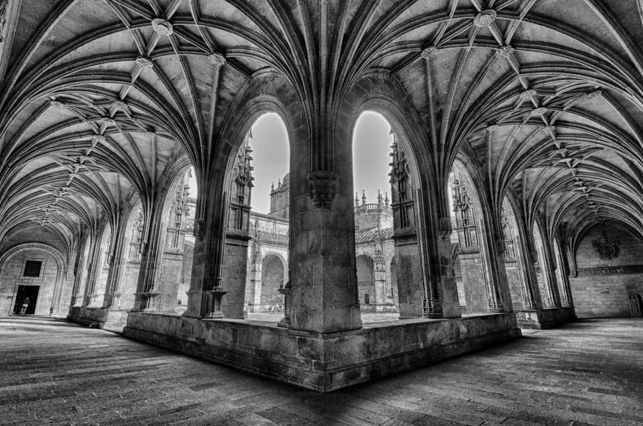 Inside the cloister of Catedral de Santiago de Compostela