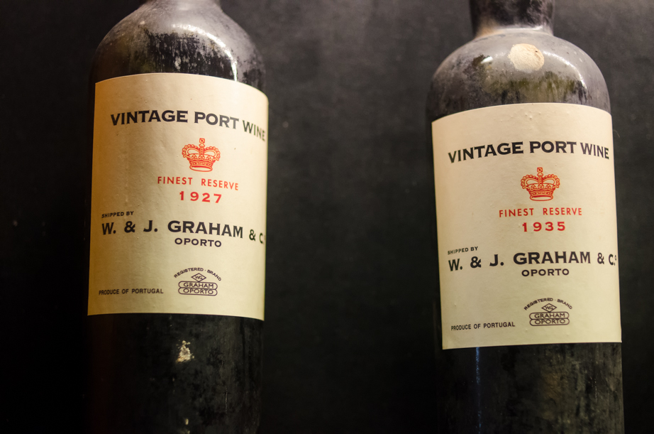 Bottles of vintage port from the time when the wine was floated down the Douro River