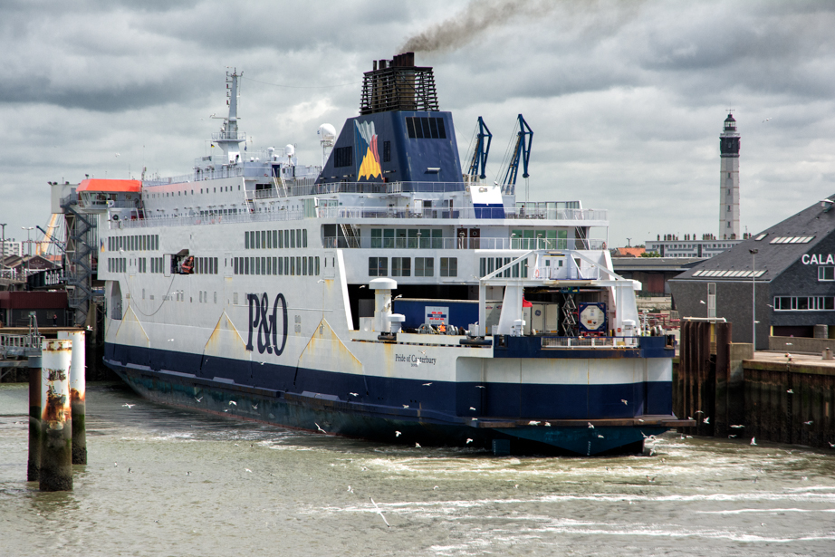 A ferry sits at the dock in Calais
