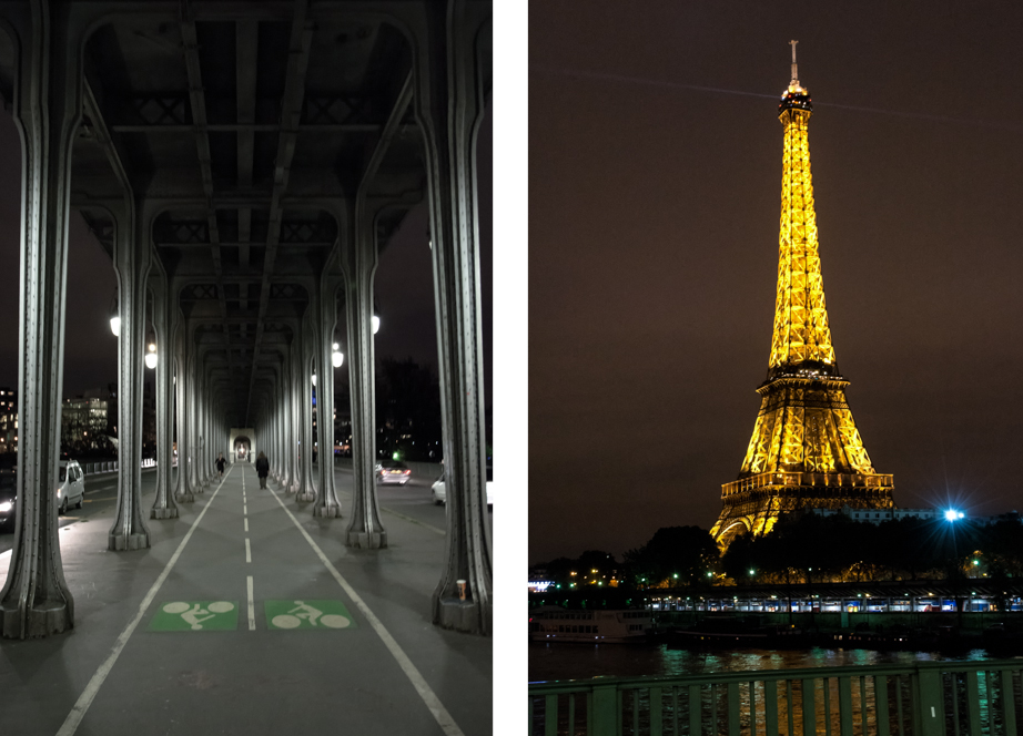 Bike lane, Paris style (left) and Eiffel's Tower at night viewed from the bridge (right)