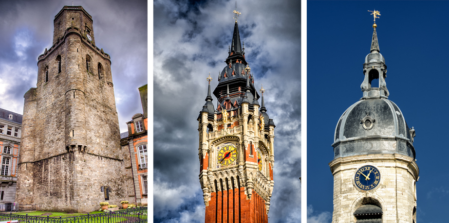 Belfries in Boulogne-sur-Mer (left), Calais (center), and Amiens (right)