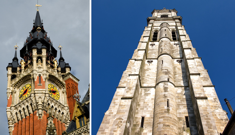 Belfries in Calais (left) and Cambrai (right)