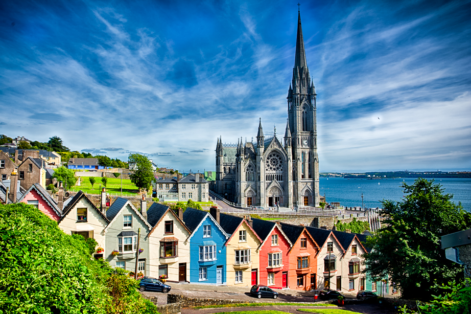 Our version of the picture of St Colman's Cathedral that lead us to visit Cobh Ireland.
