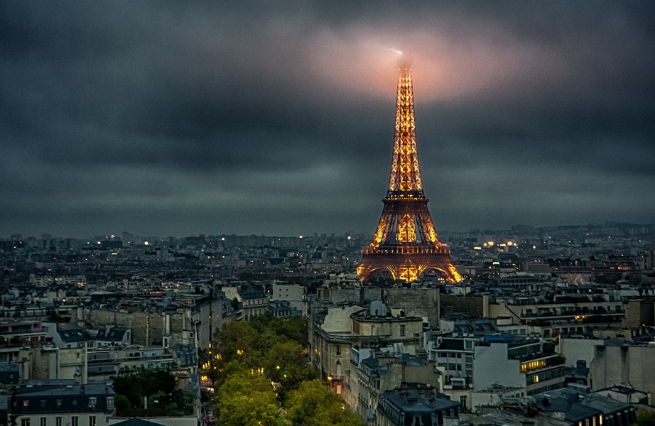 The Eiffel Tower viewed from the Arc de Triomphe