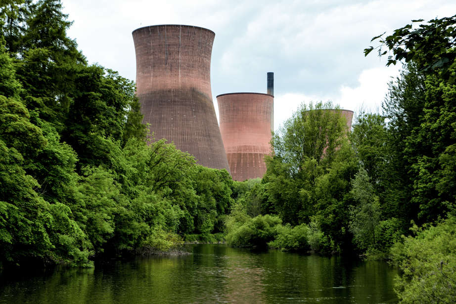 Just downstream from Ironbridge are modern cooling towers.