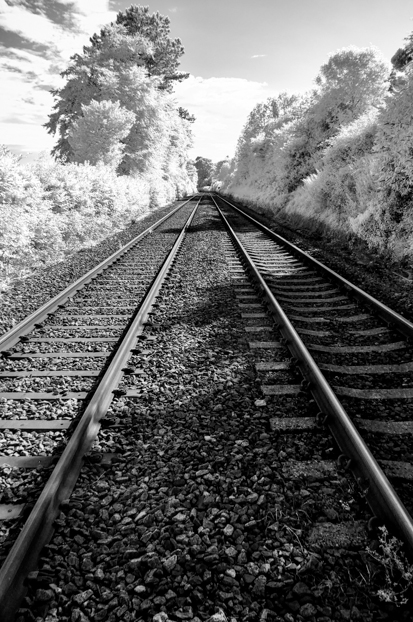 Railroad tracks (Color IR converted to B&W)