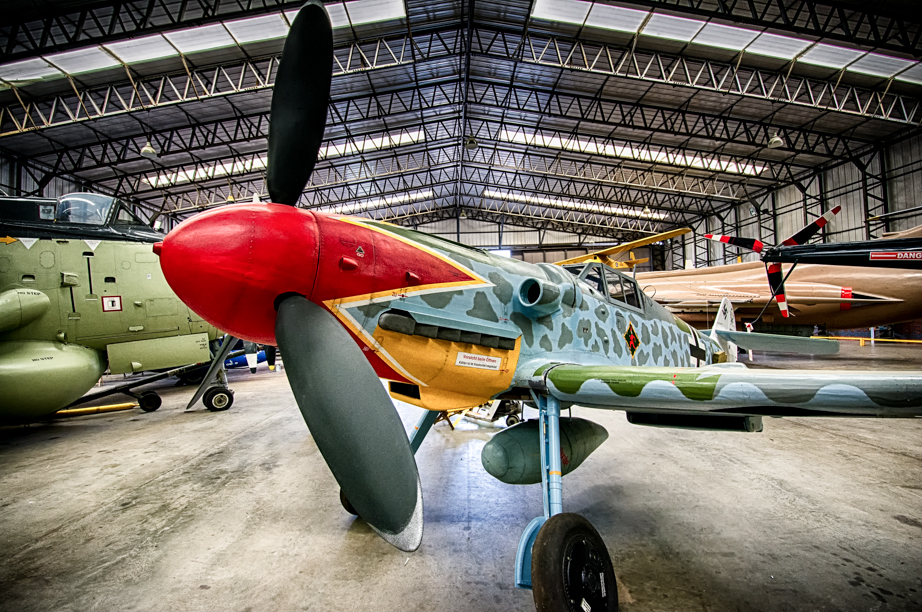 A replica of a Messerschmitt Bf-109G6 at the Yorkshire Air Museum & Allied Air Forces Memorial