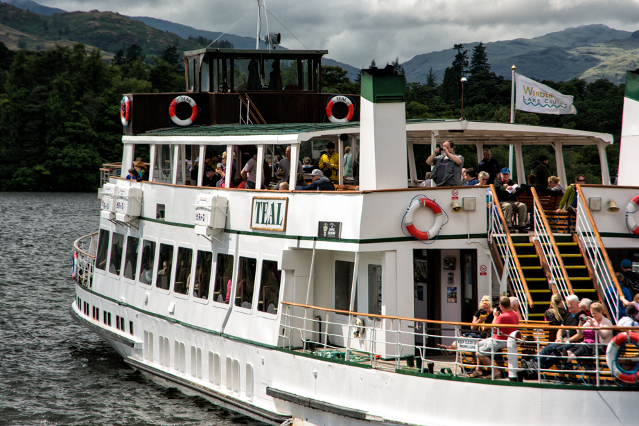 A boat takes visitors on a tour of Windermere Lake
