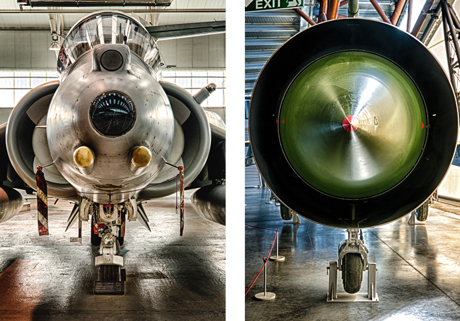 A BAe Harrier GR9A (left) and a jet engine (right) on display at Royal Air Force Museum Cosford.