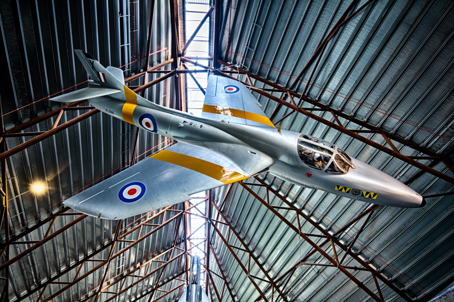 A Hawker Hunter suspended at the Royal Air Force Museum Cosford
