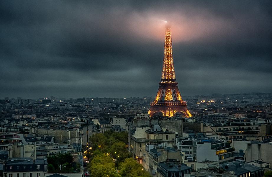 La Tour Eiffel viewed from the Arc de Triomphe in Paris, France.