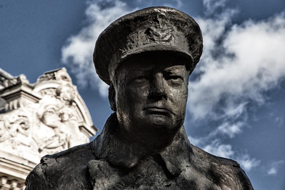A statue of Winston Churchill in Paris France