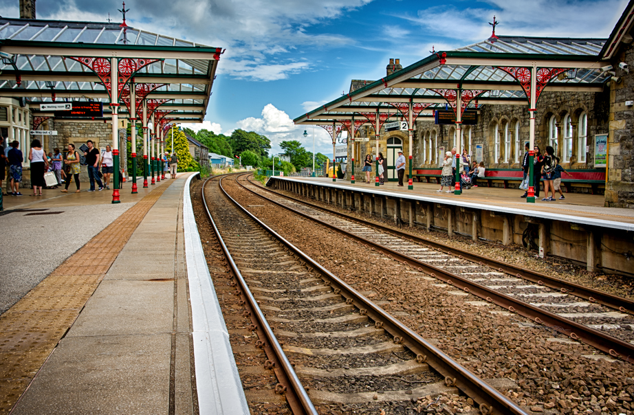 Railroad station in Grange-over-Sands in England