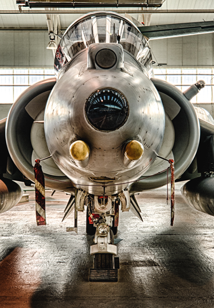 A BAe Harrier GR9A on display at Royal Air Force Museum Cosford in Cosford, United Kingdom.