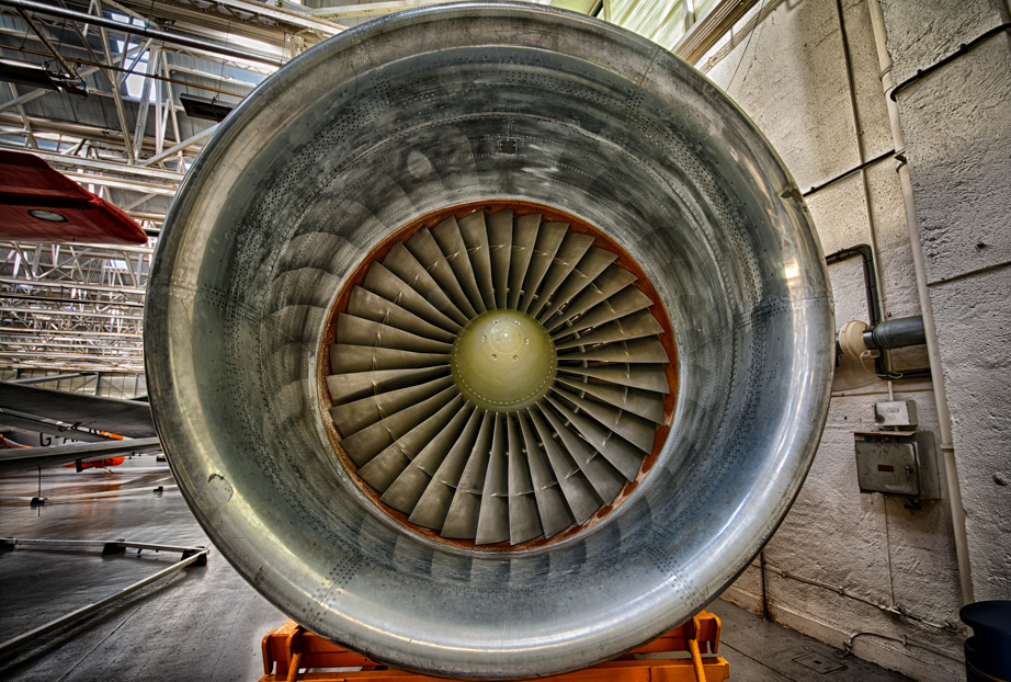 Rolls-Royce RB211 turbofan engine on display at Royal Air Force Museum Cosford.