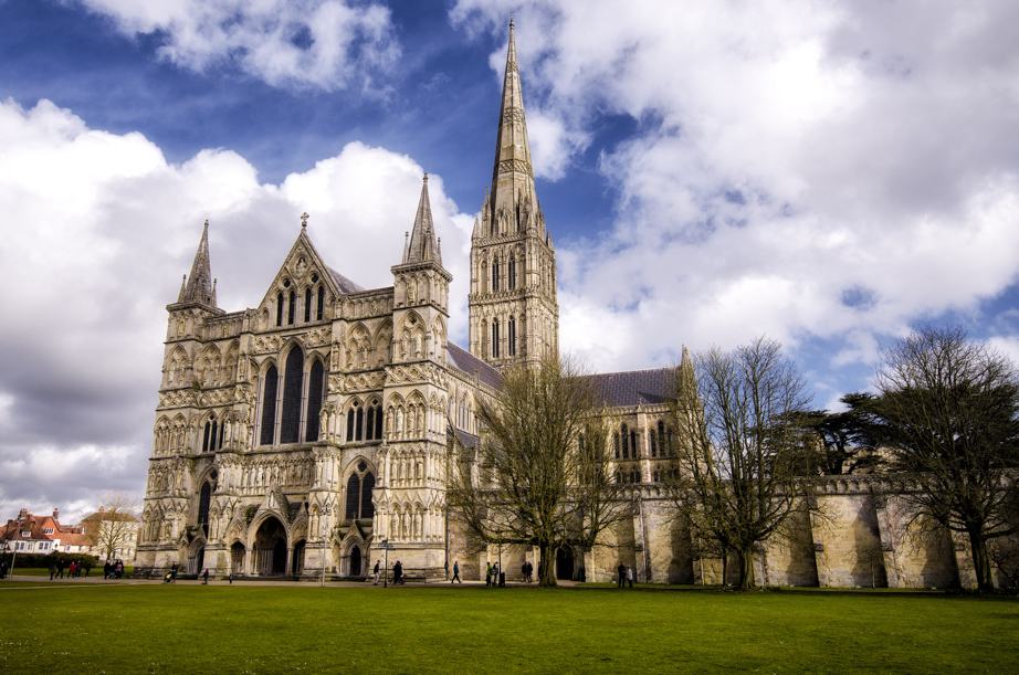 Salisbury Cathedral has the tallest church spire in Britain.