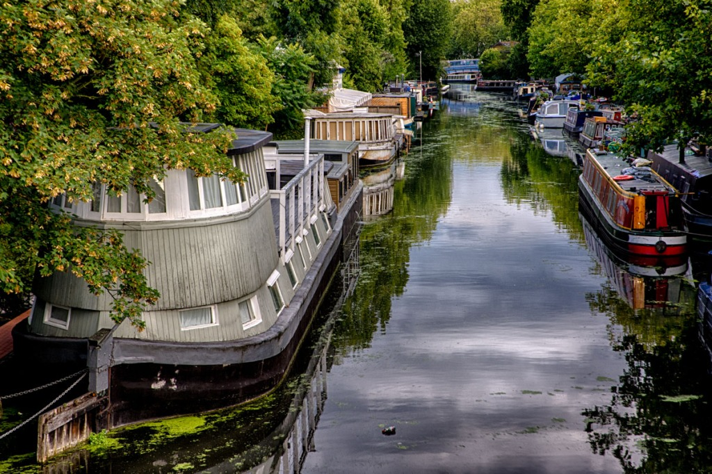 Richard Branston's houseboat Duende moored in Little Venice.  This was Branson's base as he started his Virgin empire.