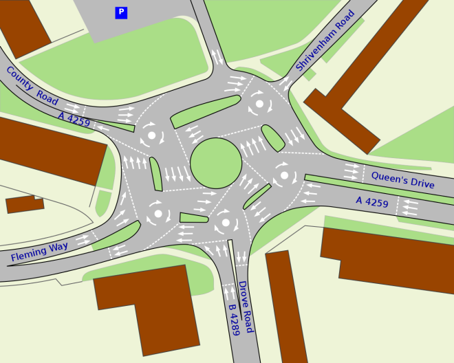 A schematic of the Swindon Roundabout courtesy of http://en.wikipedia.org/wiki/File:Swindon_Magic_Roundabout.svg