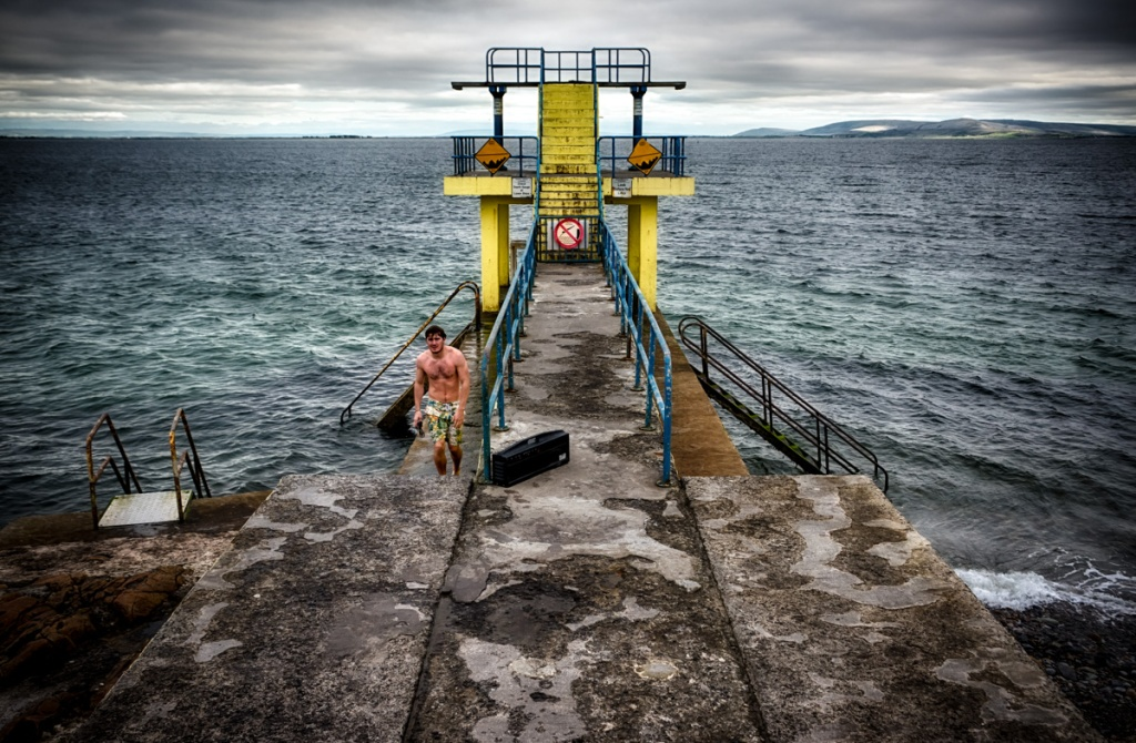 The water is cold:  The diving platform in Galway.