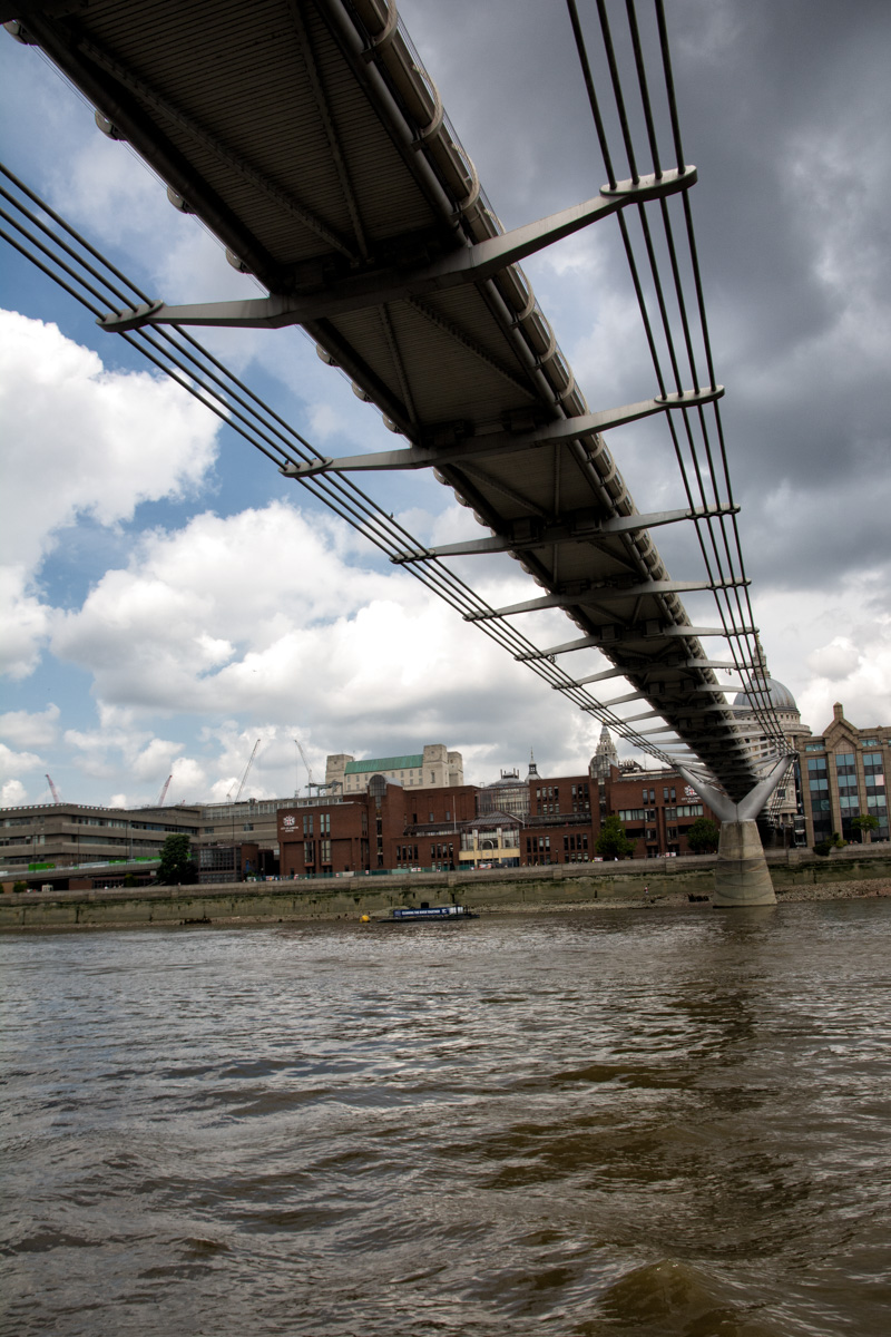 The Millennium Bridge viewed from the Thames.