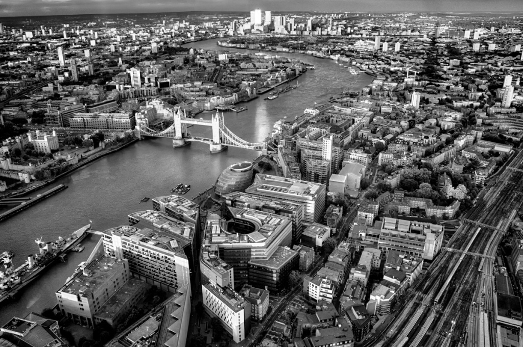 The Tower Bridge as viewed from The Shard.