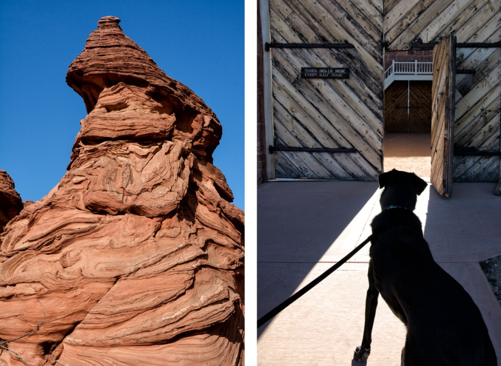 (left) Do you see a face in this rock at South Coyote Buttes? (right) Gigi wonders what's in the doors of Winsor Castle at Pipe Springs NM.