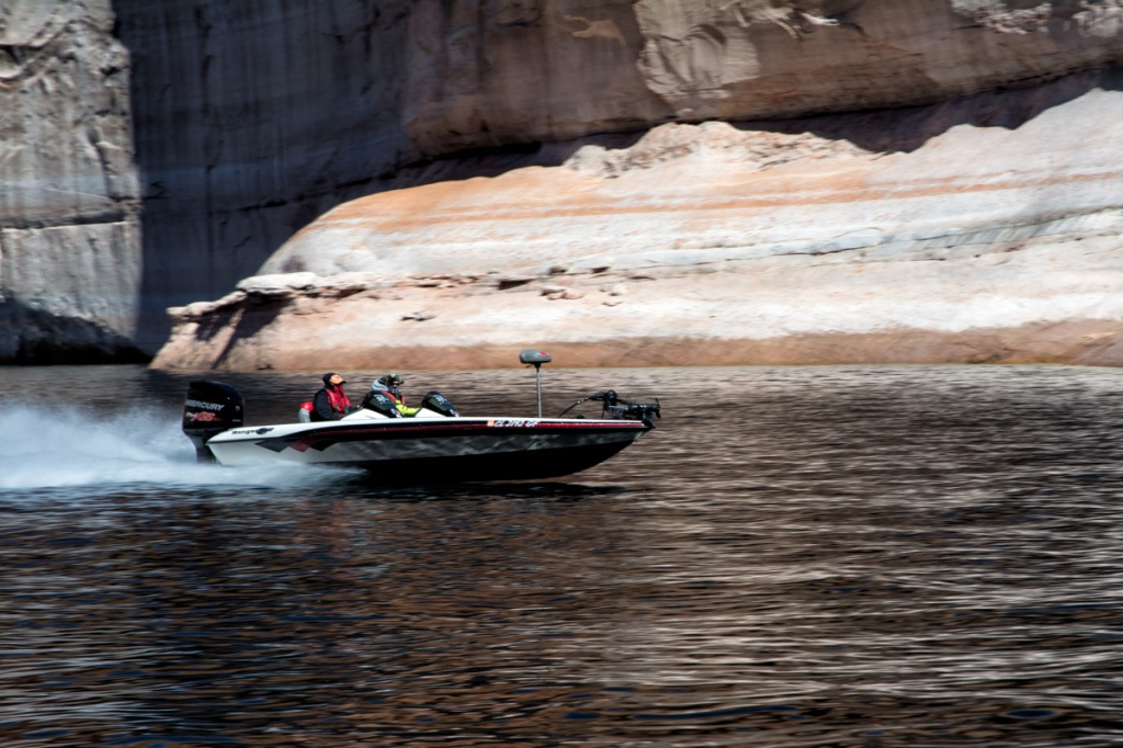 Even in February fisherman are active on Lake Powell.  Sometimes it seems more about the boat than the fish.