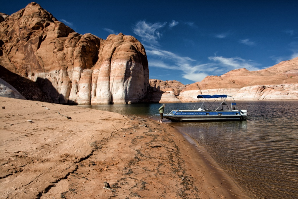 Shore leave in Navajo Canyon.  We rented a boat at Antelope Point Marina to explore the lake.