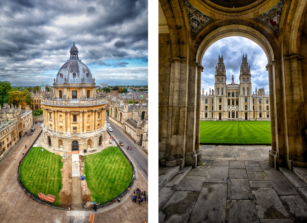 The Radcliffe Camera (left) and nearby All Souls College (right)