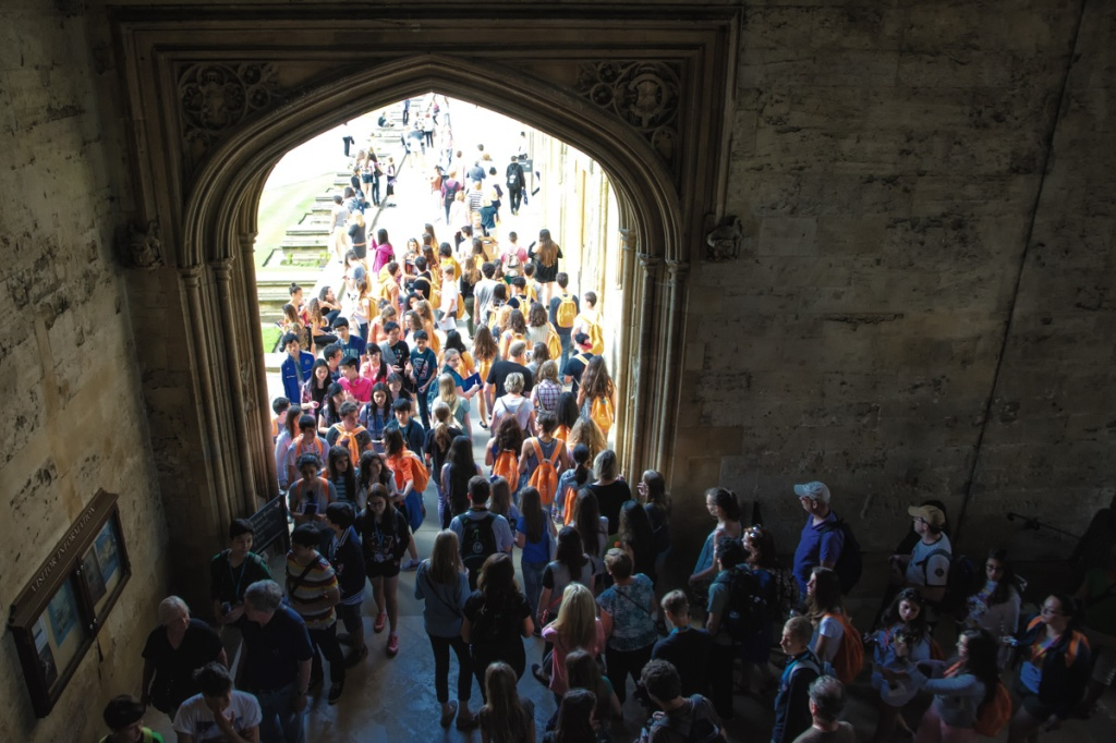 Tourists jam Christchurch College during the high season.