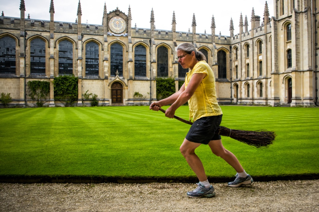 Becky's tries her hand at flying broom.  It is not as easy as it looks in the Harry Potter movies.