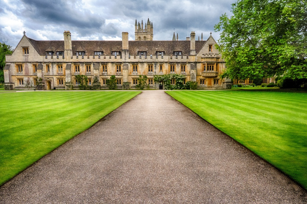 The grounds at Merton College:  Author J. R. R. Tolkien was Merton Professor of English Language and Literature and Fellow of Merton from 1945 to 1959.