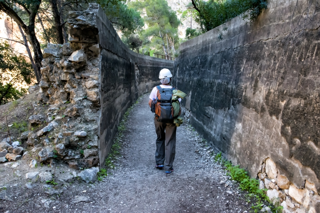 Becky walks along a disused section of the aqueduct.
