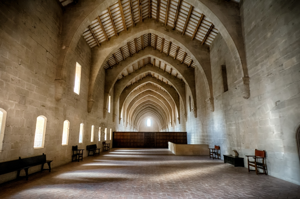 Inside the dormitory at the Poblet Monastery