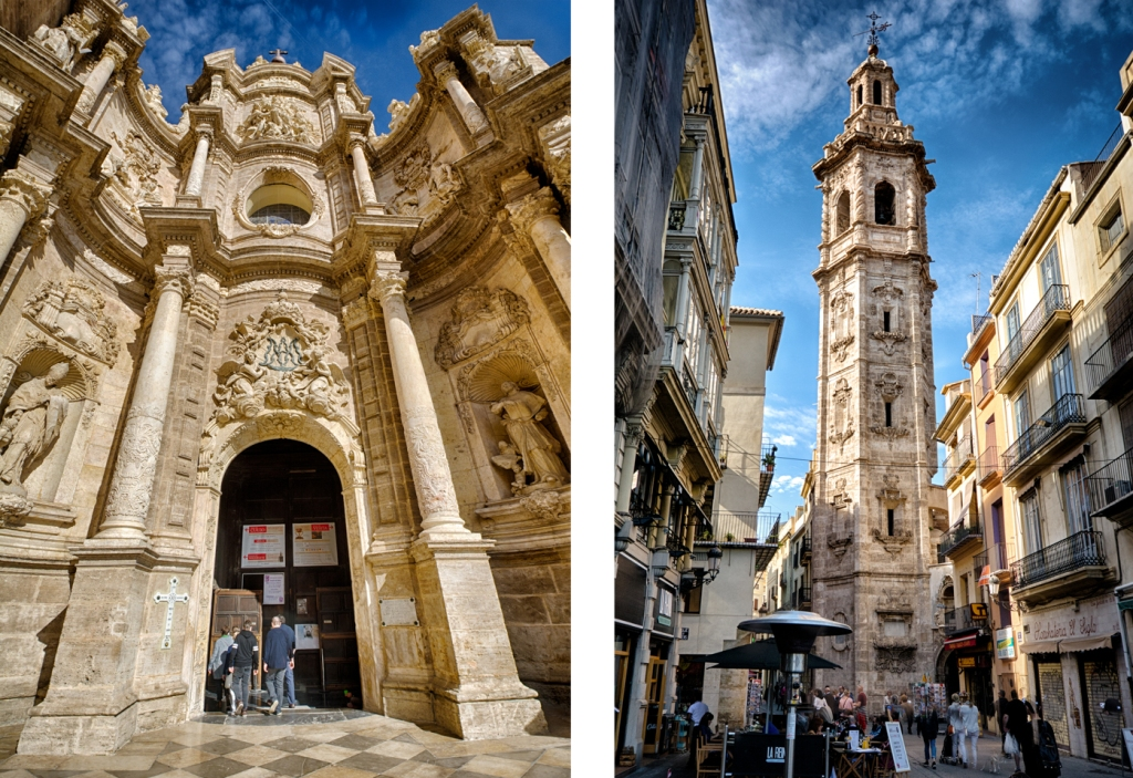 The portal to Valencia's cathedral (Iglesia Catedral-Basílica Metropolitana de la Asunción de Nuestra Señora de Valencia) on the left and the tower of the Iglesia de Santa Catalina on the right