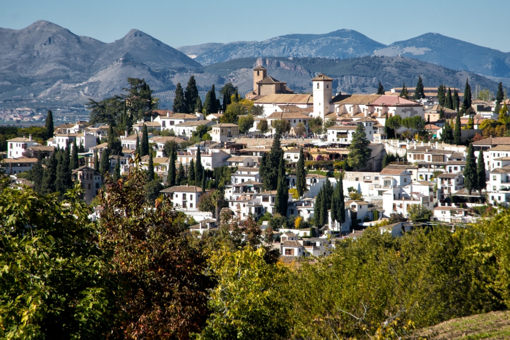 The old Moorish section of Granada, the Albayzín, viewed from the Alhambra.
