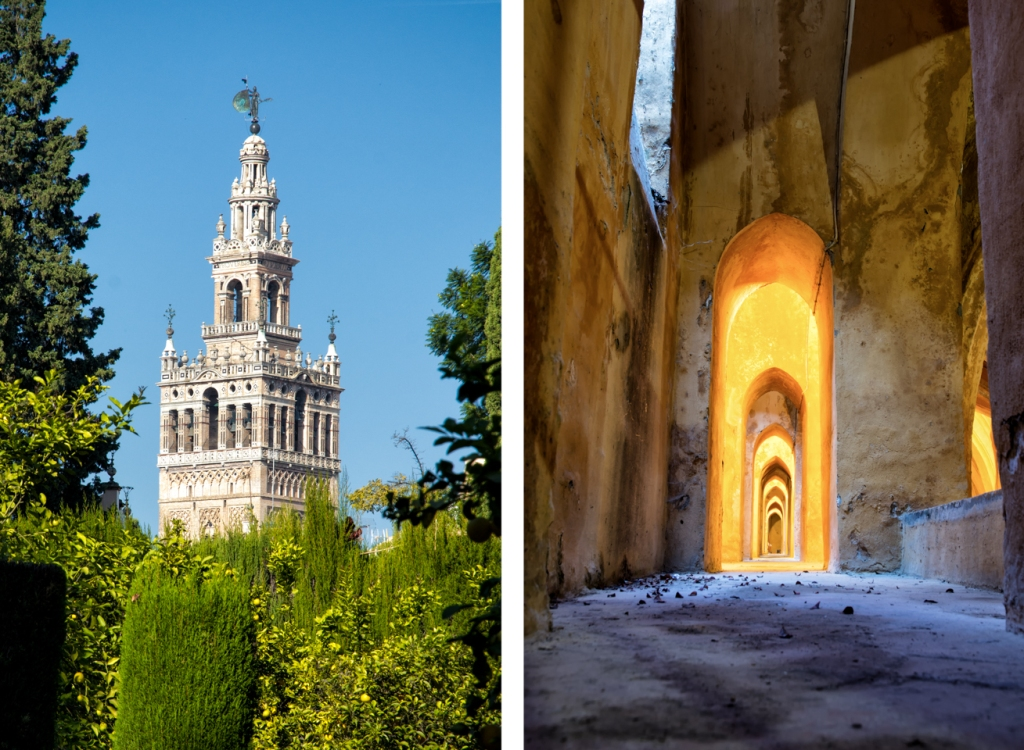 On the left: La Giralda as viewed from the Alcazar's gardens. On the right: Repeating patterns inside the bowels of the royal palace.