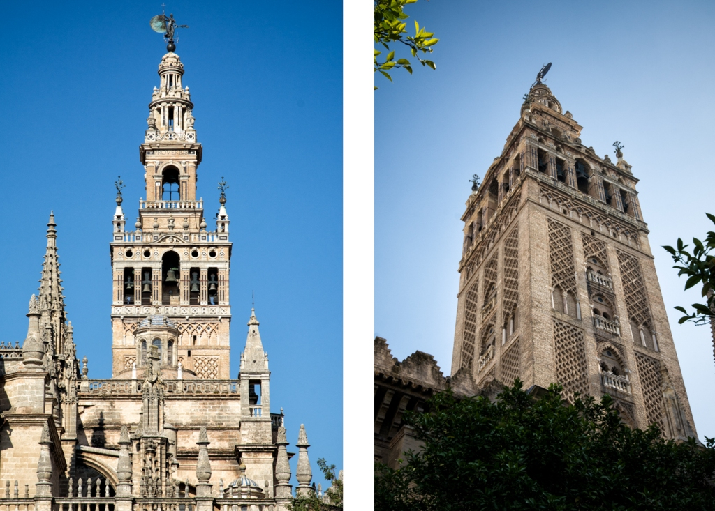 La Giralda, once the minaret for a mosque and now the bell tower for Seville's cathedral